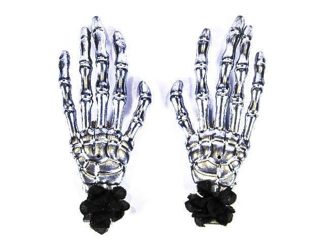 silver skeleton halloween hades hands w black