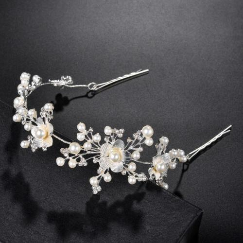 silver tone floral pearls faux rhinestones bridal