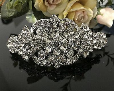 Silver rhinestone crystal metal hair clip ha1701