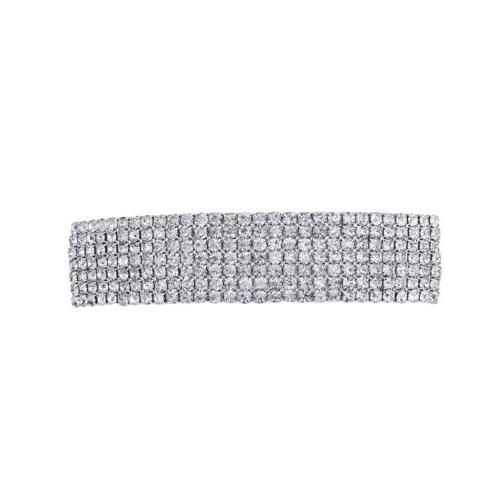 Lux Accessories Silvertone Special Occasion Rhinestone Hair