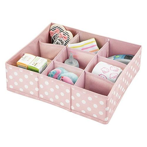 mDesign Soft Fabric 9 Section Drawer Closet Storage Organizer for Playroom - Organizers Print White Dots