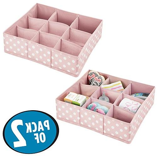 mDesign Soft Closet Organizer for Room, Nursery, Playroom Divided Organizers Polka Print - - Light Pink White Dots