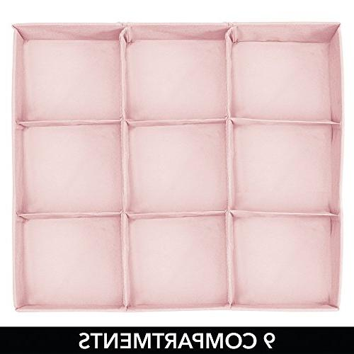 mDesign Fabric Section Closet Storage for Baby Room, Nursery, Playroom - Organizers Polka Dot - Pink with White