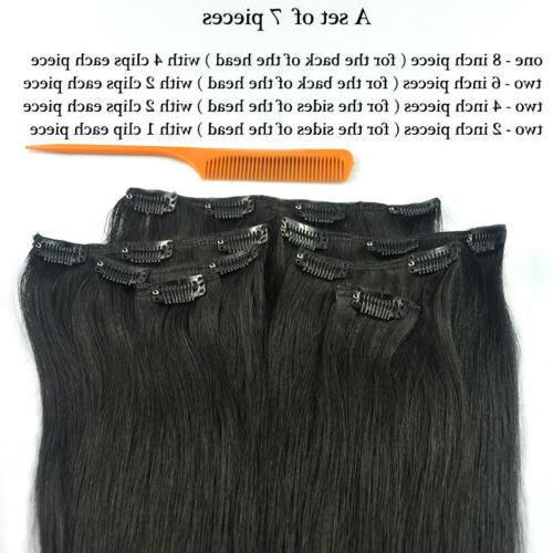 """Straight Remy On 100% Human Hair 20"""" 70g 7pcs 16 Clips"""