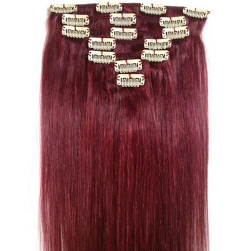 Straight Remy Clip On Human Hair 7pcs Clips