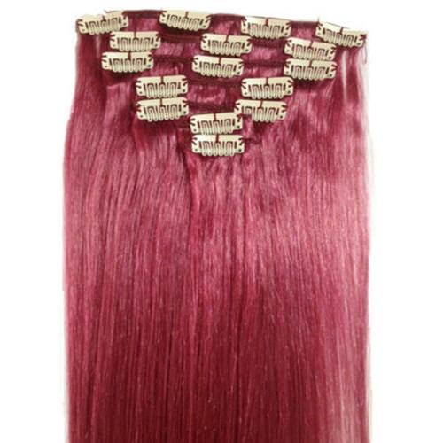 """Straight Clip In On Hair 100% Hair Extensions 20"""" 7pcs 16 Clips"""