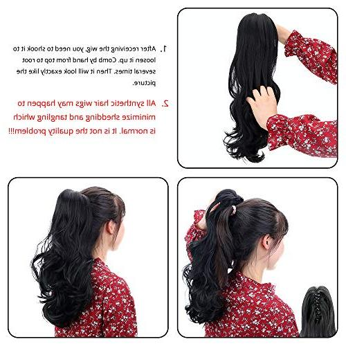 Multi Color Synthetic Ponytail Hair Long Curly Jaw Tail Hairpiece
