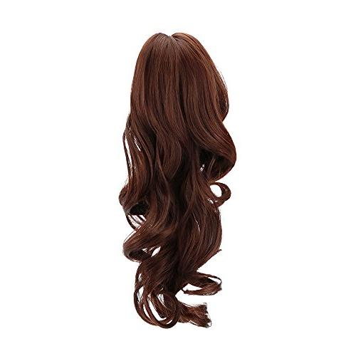 Multi Color Ponytail in Hair Extensions Long Curly Wavy Claw Jaw Pony Synthetic Hairpiece