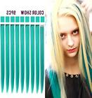 Teal Hair Pieces Colored Hair Extensions Clip in/On for Amer