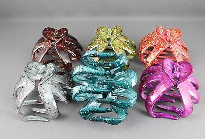 Teal clip big barrette claw clamp accessory marbled