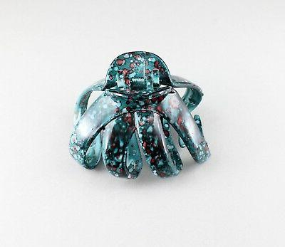 Teal big barrette plastic claw clamp