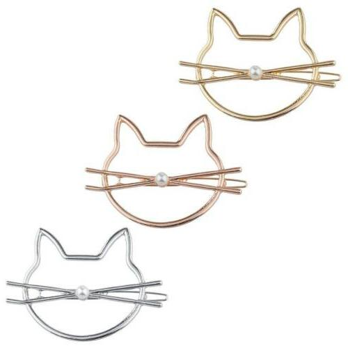 Lux Accessories Tri Color Mix Metal Cat Kitty Novelty Hair C