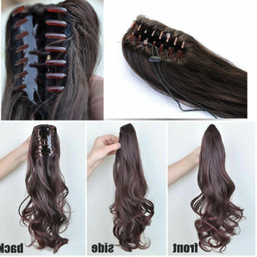 US New Clip In Hair Extension Pony Tail Around