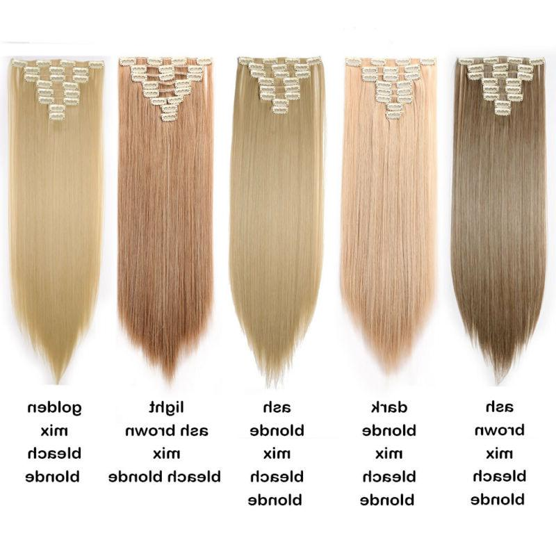 8Pcs In Hair Extensions Head As Human Real Thick
