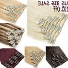US Clip In Remy Real 100% Human Hair Extensions Full Head Hi