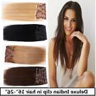 USA STOCK! Deluxe 26 inch Indian Remy Human Hair Clip In Ext