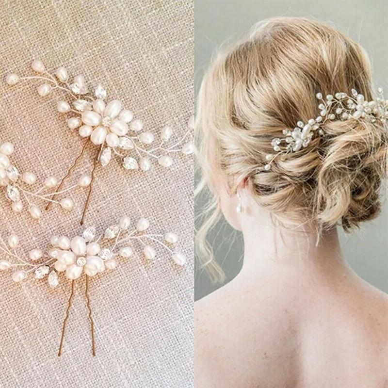 Women's Bridal Pearl Crystal Barrette Clips