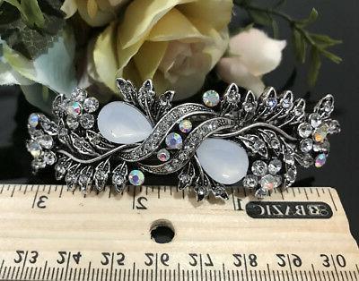 Vintage silver Rhinestone clear Color Hair Clip Barrette