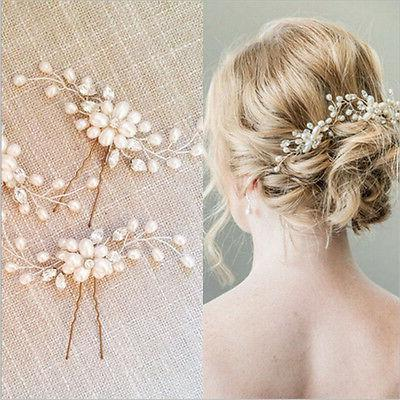 Vintage Wedding Bridal Pearl Flower Crystal Hair Pins Brides