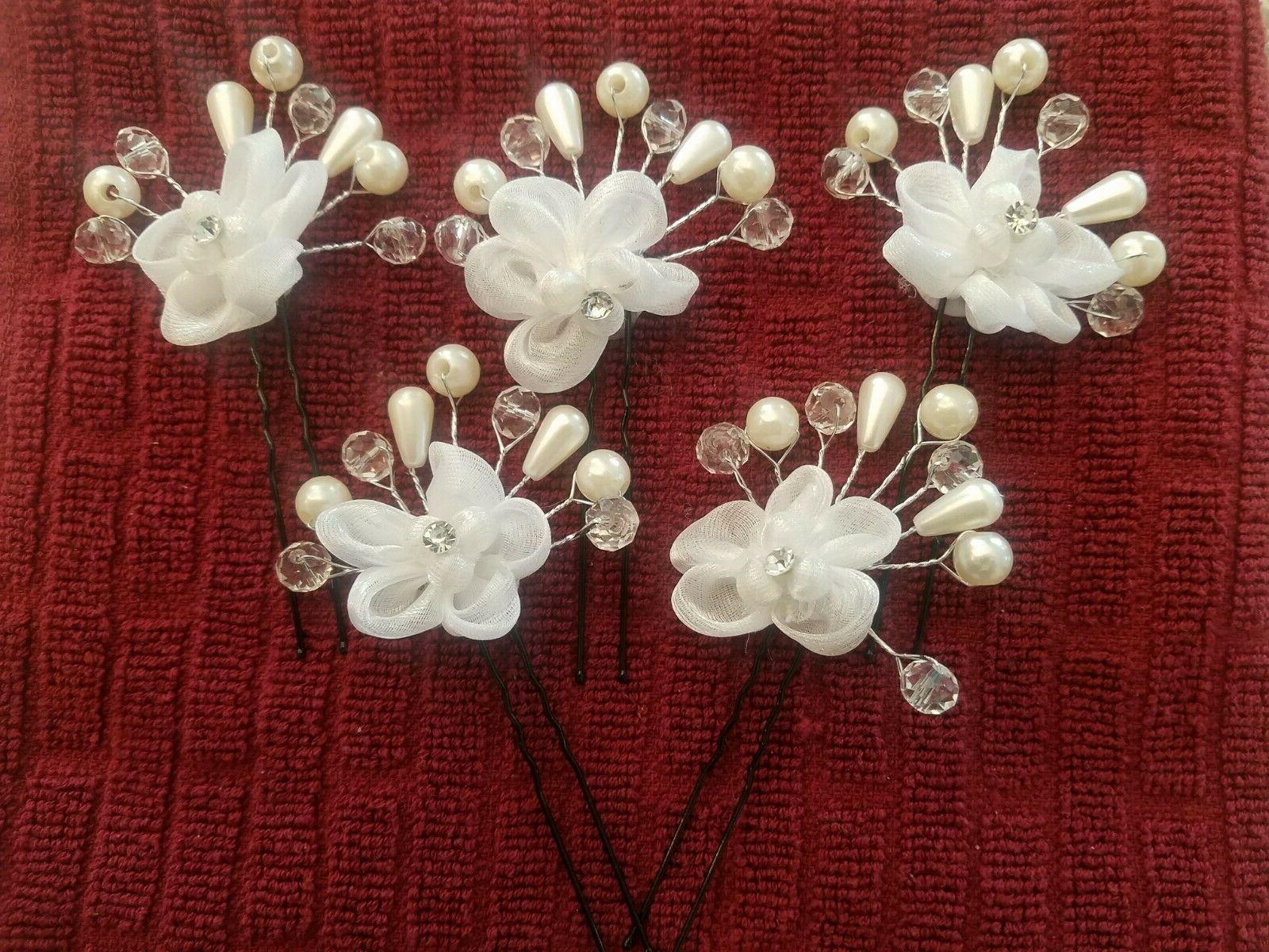 Wedding Floral Pearl Hair Clip Hairpin Accessories USA