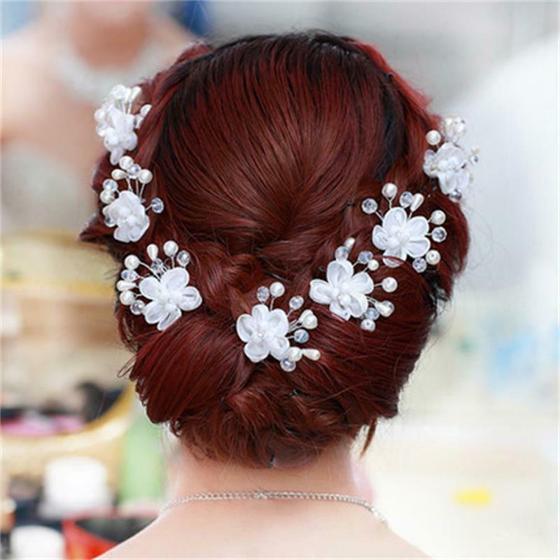 wedding floral pearl hair clip bride head