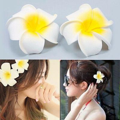 white plumeria decor flower hair clip bridal
