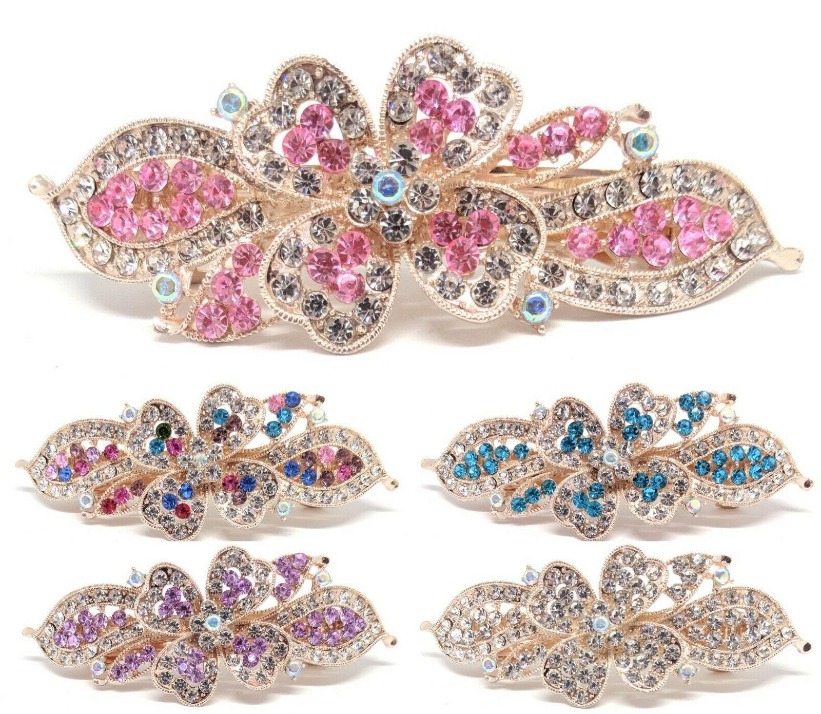 woman metal barrette rhinestones crystal hair clip