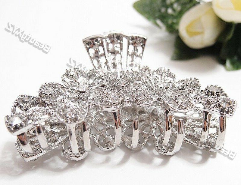 Woman Crystal flowers design clip bridal hair clip