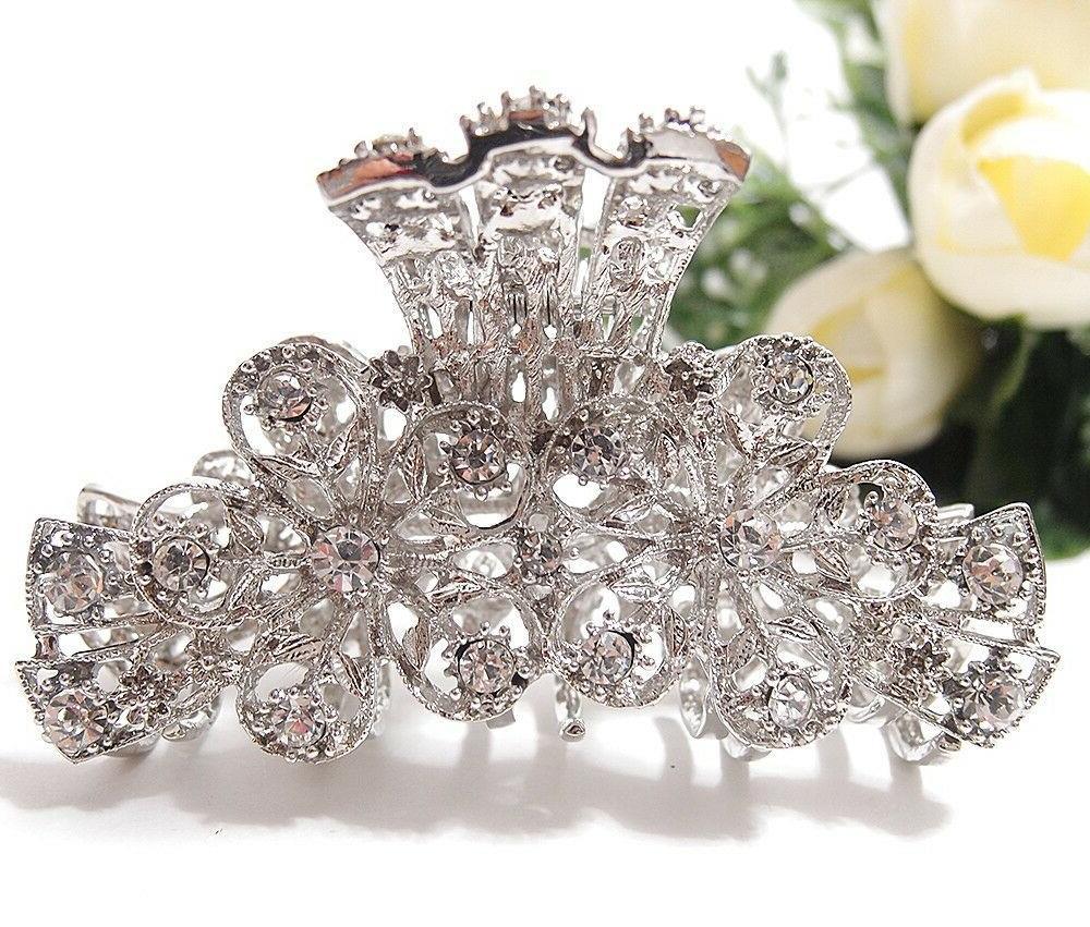 woman rhinestones crystal flowers design metal hair
