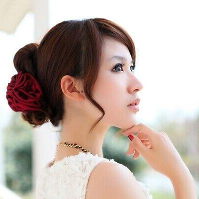 Women Chiffon Bow Hair Barrette Claw Accessories US