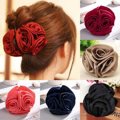women chiffon rose flower bow jaw hair