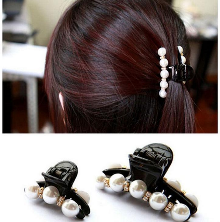 Women Elegant Clip Pearl Hairpin Clamp Bang