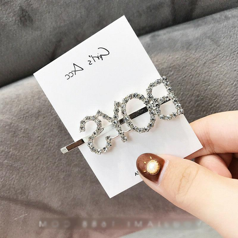 Women Girls Crystal Rhinestone Words Hairpin Hair Headwear