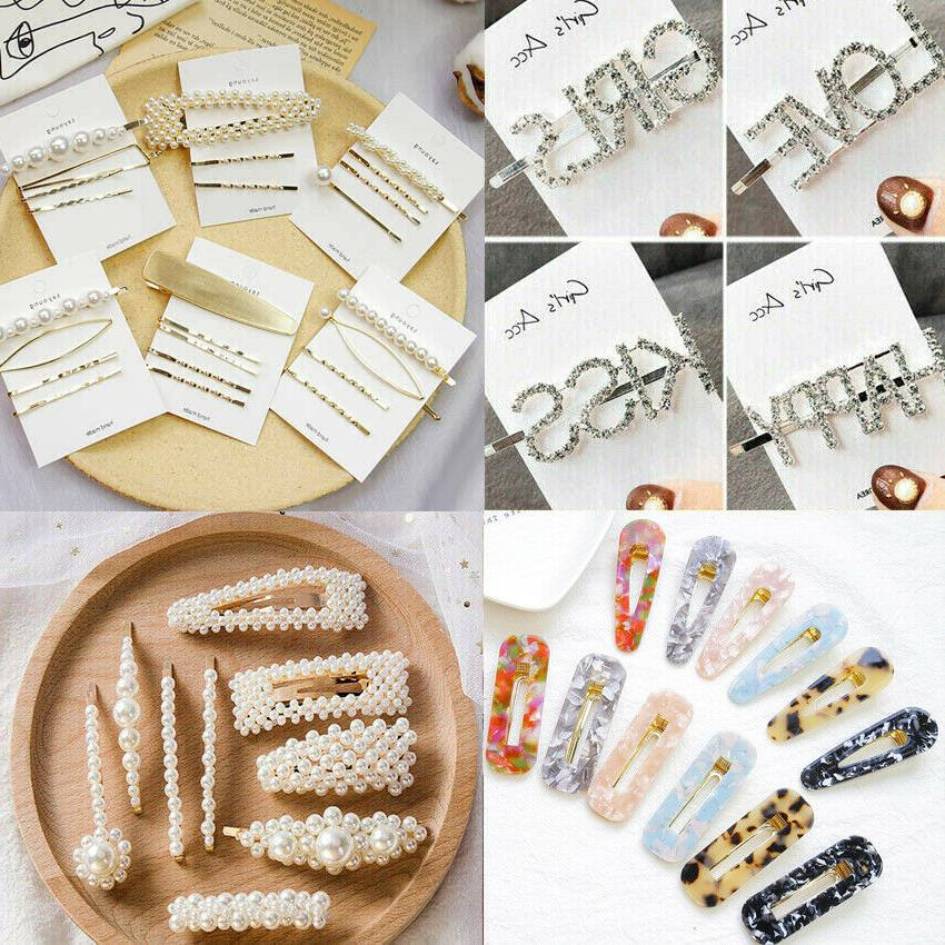 women girls crystal rhinestone words hairpin hair