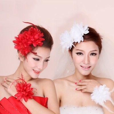 Women Girls Flower Feather Hair Clip Headwear Wedding