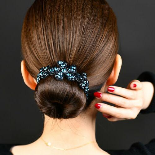 Girls Crystal Claw Ponytail Bun Comb Bride Hairpin Fashion
