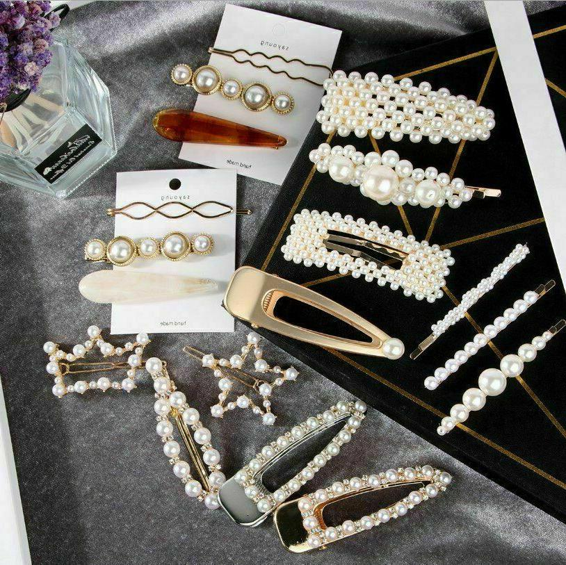 Popular Women Pearl Clip Barrette Stick Hairpin Accessories