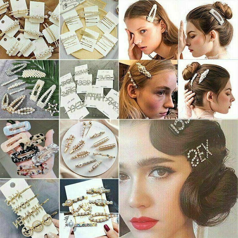 4Pcs Pearl Hair Clips Barrette Stick Hairpin Accessories