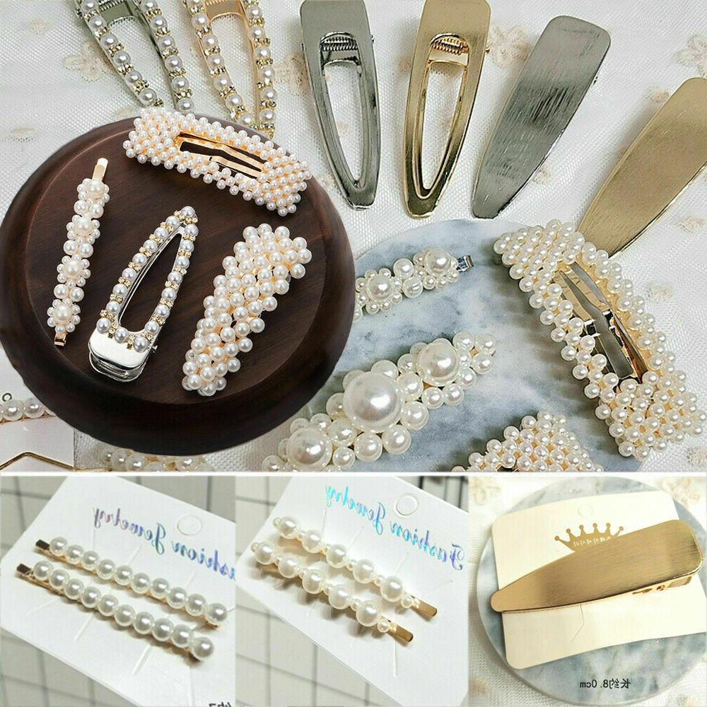 4Pcs Women Pearl Hair Clips Stick Hairpin Hair Accessories