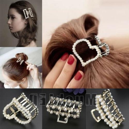women girls retro gold silver metal pearl