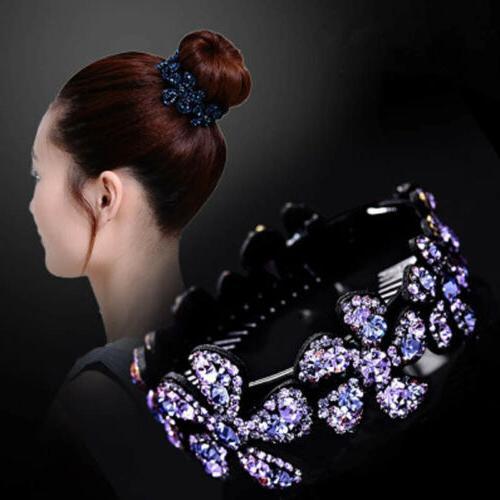 Women Clip Crystal Claw Ponytail Bun Hair Hairpin Decor