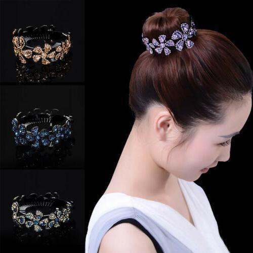 women girls hair clip crystal claw ponytail