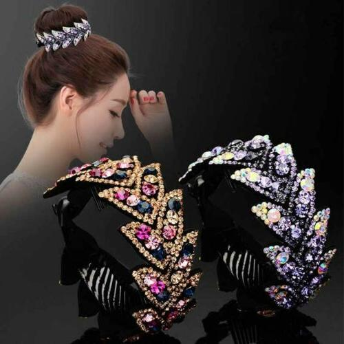 women hair clip crystal claw ponytail bun