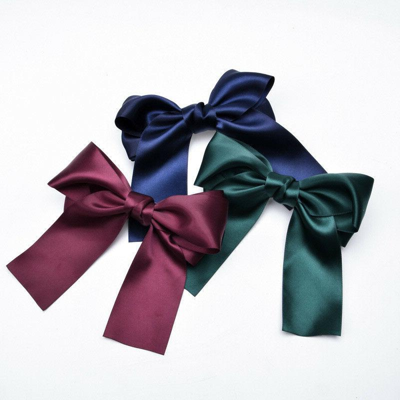 Women's Big Long Ribbon Clip Fabric Hair Barrette Accessories