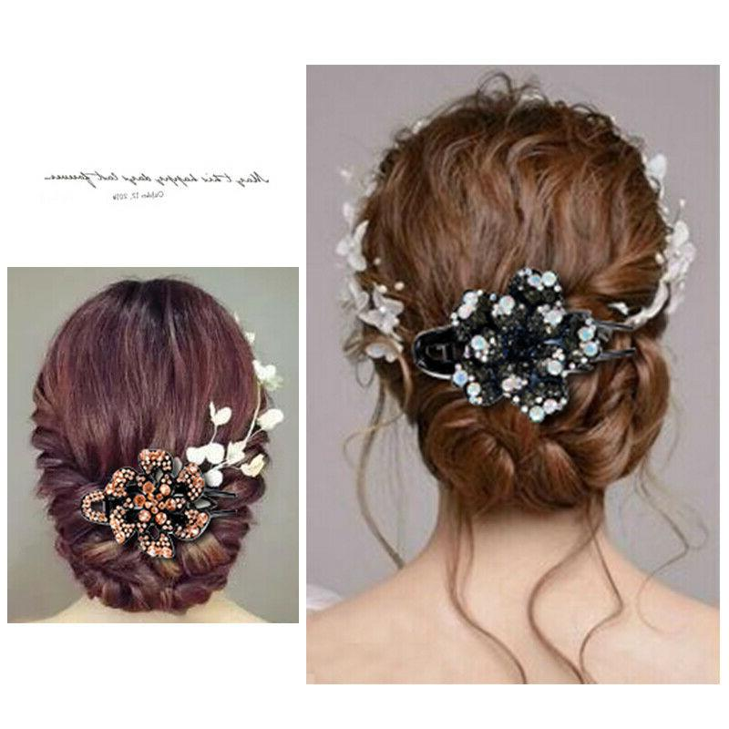 Women's Crystal Hair Slide Flower Comb Hair Accessories