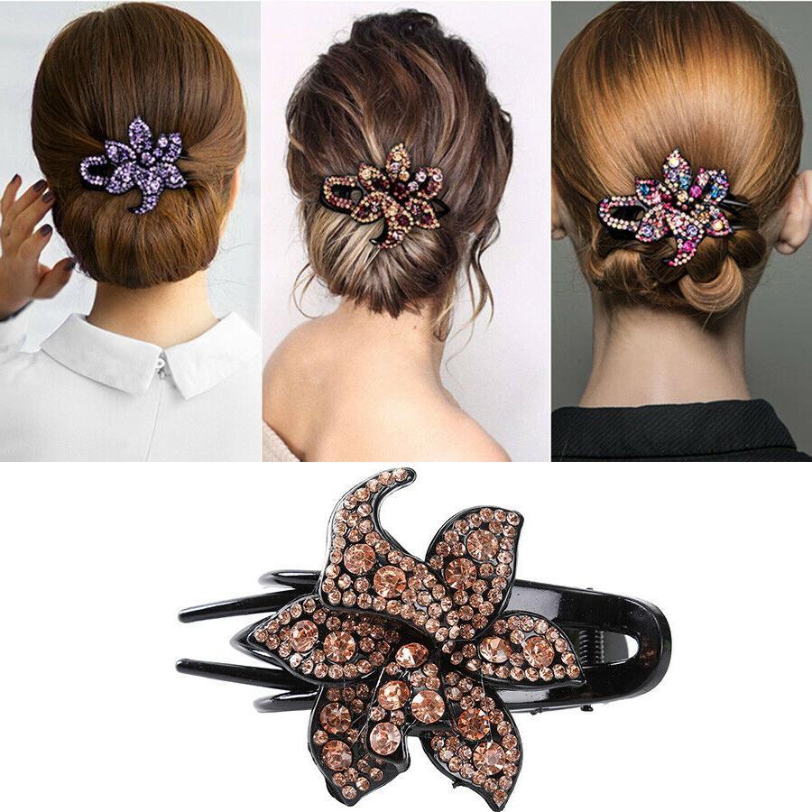 women s crystal hair clips slide flower
