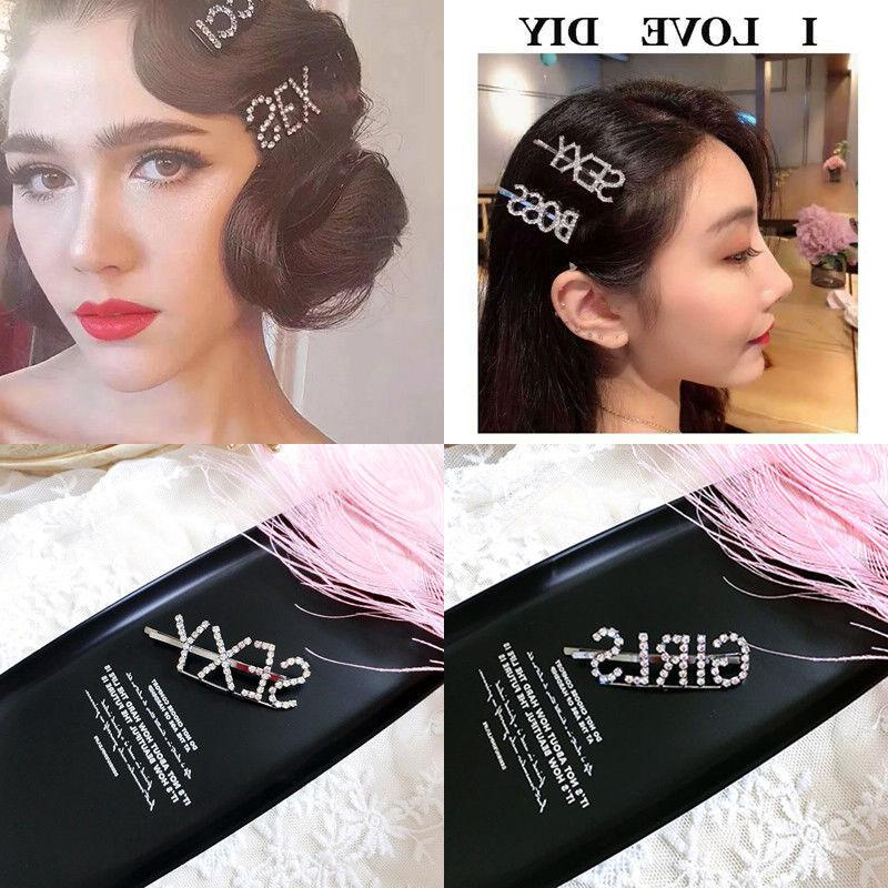 Women's Hair Clip Crystal Hairpin Slide