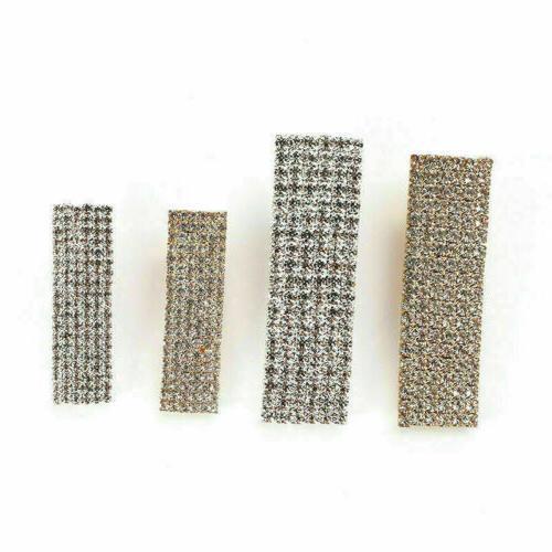 Women's Rhinestone Crystal Geometric Rectangle Barrette Grips