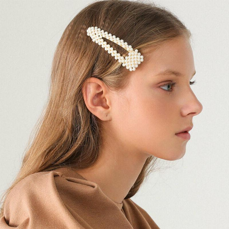 Women's Girls Pearl Clip Hairpin Barrette Clips Accessories