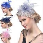 Women's Vintage Flower Feather Mesh Net Fascinator Hair Clip